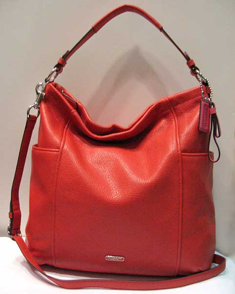 NEW COACH VERMILLION BRILLIANT RED SIGNATURE PARK LEATHER HOBO ...